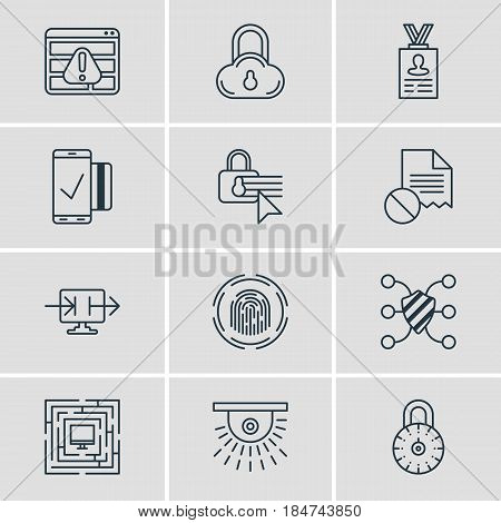 Vector Illustration Of 12 Protection Icons. Editable Pack Of Finger Identifier, Confidentiality Options, Safe Storage And Other Elements.