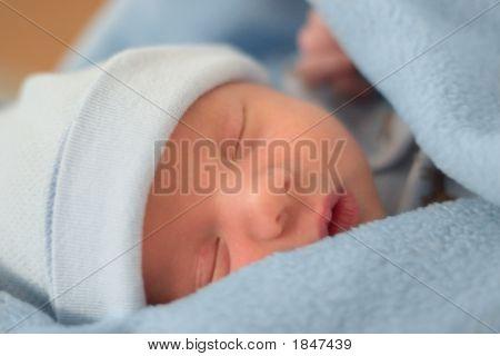 Sleeping Baby In Blue Blanket