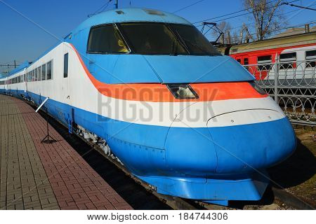 Moscow, Russia - April 1.2017. Sokol 250 is experienced Russian high-speed train in Museum of History of a Railway Transport Development