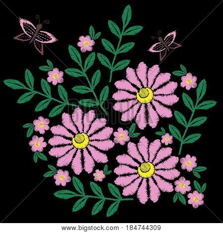 Flower and butterfly embroidery stitches imitation. Fashion embroidery vector. Beautiful spring flowers on black background. Template for clothes textiles t-shirt design