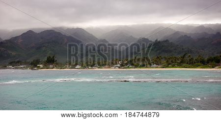 Oahu coast, Hawaii, living under the mountains with storms approaching