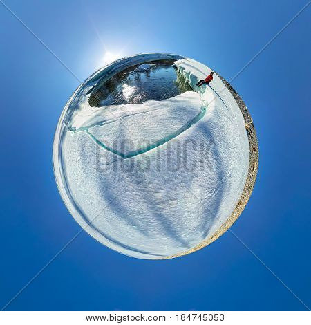 Spherical 360 180 Panorama Of A Man On An Ice Melting River