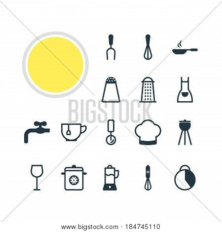 Vector Illustration Of 16 Restaurant Icons. Editable Pack Of Pepper Container, Faucet, Chef Hat And Other Elements.