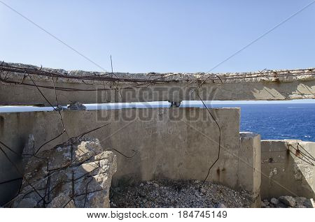 View of destroyed bunker of WWII in Italy