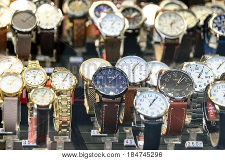 Krakow Poland - April 30 2017: Timex Watches For Sale In Luxury Shop Window Display. Timex Group USA Inc is an American watch manufacturer company.