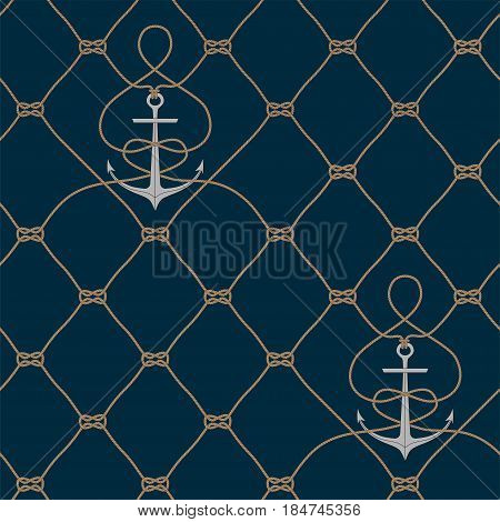 Nautical rope seamless fishnet pattern with anchors on dark blue background, cord grid
