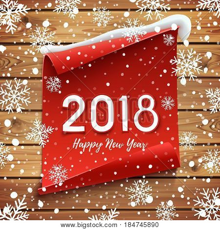 Happy New Year 2018 Greeting card design. Red curved banner on wooden planks with snow and snowflakes. brochure, poster or flyer template. Vector illustration.