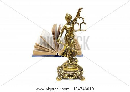 Bronze statue of justice and an open book. White background - horizontal photo.
