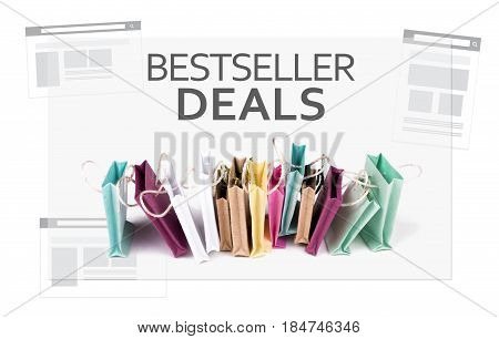 Bestseller Deals text. E-commerce online shopping concept. Miniature of reusable grocery bags.