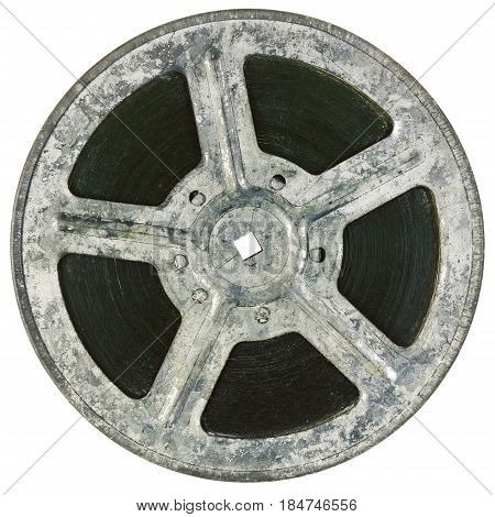 Film reel isolated on white, great detail