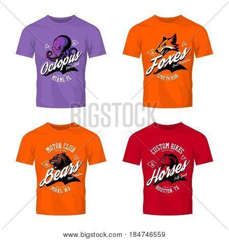 Vintage furious octopus, bear, fox and horse bikers club tee print vector design on t-shirt mockup.  Street wear t-shirt emblem set. Premium quality wild animal mascot logo concept illustration.