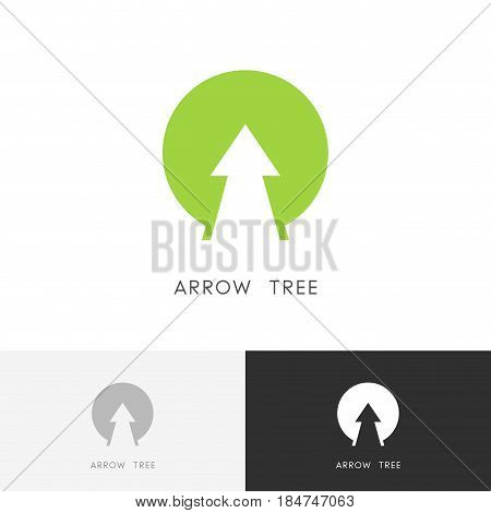 Arrow tree logo - plant growth symbol. Agro, evolution and nature vector icon.