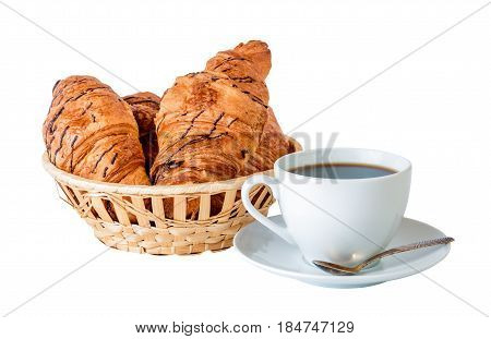 Coffee and croissants in basket isolated on white background