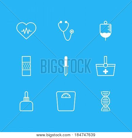 Vector Illustration Of 9 Medical Icons. Editable Pack Of Weighing, Antibody, Heart Rhythm And Other Elements.