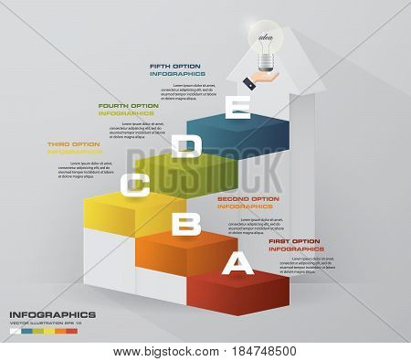 Abstract 5 steps business presentation template. 5 steps color align in vertical dimension stair.