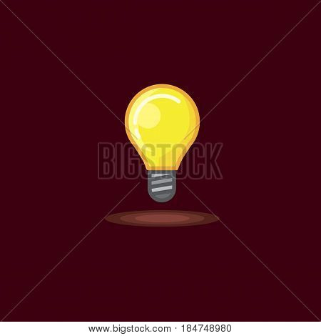 Vector illustration of a glowing incandescent lamp on dark background. Illustration of a lighted bulb