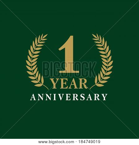 1 year old luxurious logo. Anniversary vector gold colored template framed of palms. Greetings ages celebrates. Celebrating laurel branches.