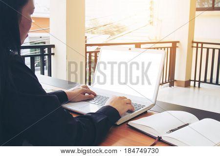 Teenage Freelance Working Business On Laptop.