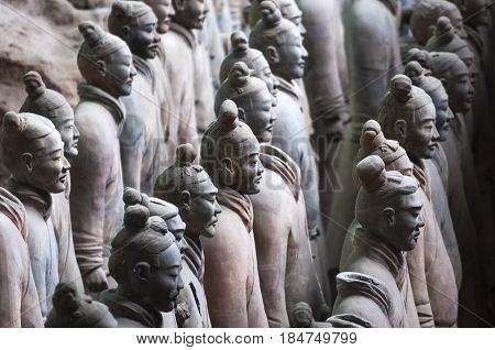 August 6, 2012 - Xian, China: Detail of a rank of soldiers from the Army of Terracotta Warriors near Xian Shanxi China