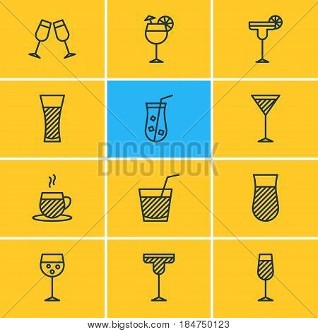 Vector Illustration Of 12 Beverage Icons. Editable Pack Of Tea Cup, Champagne, Beverage And Other Elements.