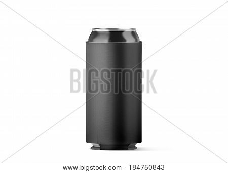 Blank black collapsible beer can koozie mockup isolated for 500 ml 3d rendering. Empty neoprene cooler holder mock up for tin beverage. Plain drinkware hugger design template. Clear soda sleeve