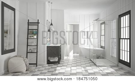 Scandinavian minimalist white and gray bathroom shower bathtub and decors classic vintage interior design, 3d illustration