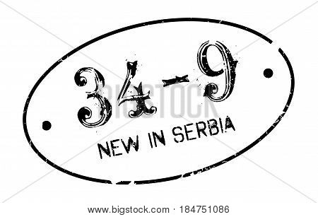 New In Serbia rubber stamp. Grunge design with dust scratches. Effects can be easily removed for a clean, crisp look. Color is easily changed.