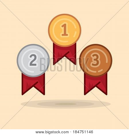 Vector illustration set medal winner award. Illustration victorious gold medal, silver medal, bronze medal