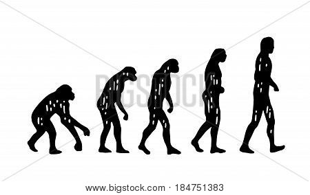 Theory evolution of human. From monkey to man. Vintage black engraving illustration for poster. Isolated on white background.