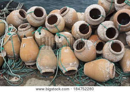 Terracotta lobster pots used by Portuguese Fishermen