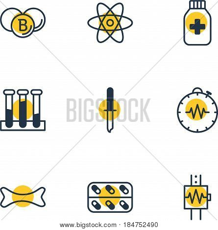 Vector Illustration Of 9 Medical Icons. Editable Pack Of Medicine, Painkiller, Medicine Jar And Other Elements.