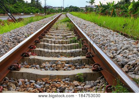 railway track length on gravel for train transportation: Select focus with shallow depth of field :
