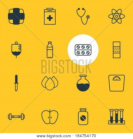 Vector Illustration Of 16 Health Icons. Editable Pack Of Antibody, Trickle, Pills And Other Elements.