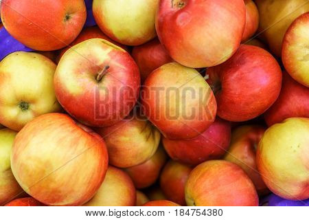 Group of fresh red and yellow apples in the market, top view, close up