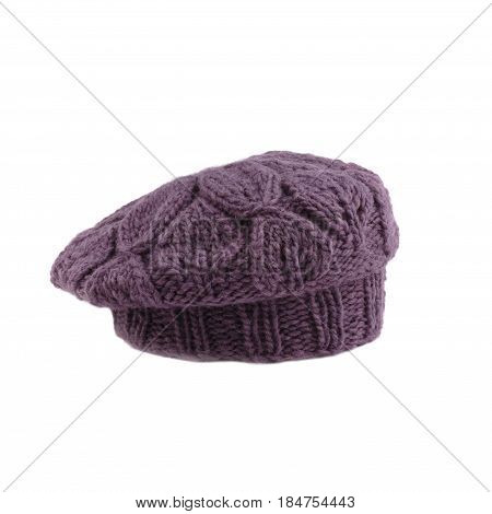 violette french beret on white background isolated