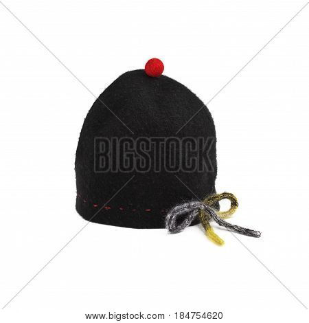 Black Hat With Red Pompon