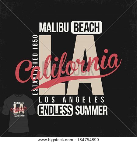 Los Angeles California typography for t-shirt print. T-shirt mockup with stamp. Vector