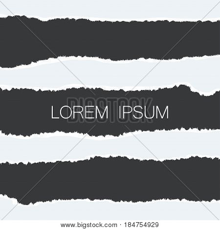 Paper with ripped edges. Realistic set of holes in paper with damaged sides. Banners template for web design. Vector