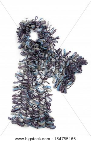 Gray And Blue Mohair Scarf