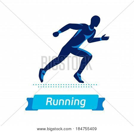 Running man logo or badge. Vector silhouette of runner. Sport emblem. Flat label concept