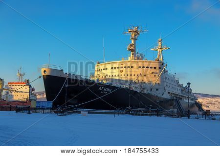 Murmansk, Russia - February 25, 2017: First Atomic Nuclear-powered Icebreaker Lenin