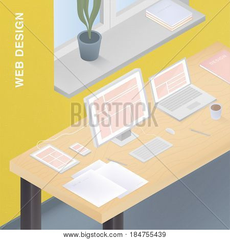 Adaptive web design for various devices. Colorful vector illustration with responsive design on computer, tablet, smartphone, laptop