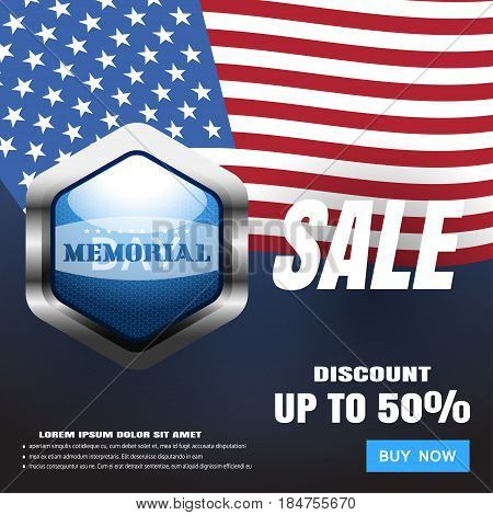 Memorial Day Sale vector poster with blue metal label american flag blue button contacts shadow and terms on the dark blue gradient background.