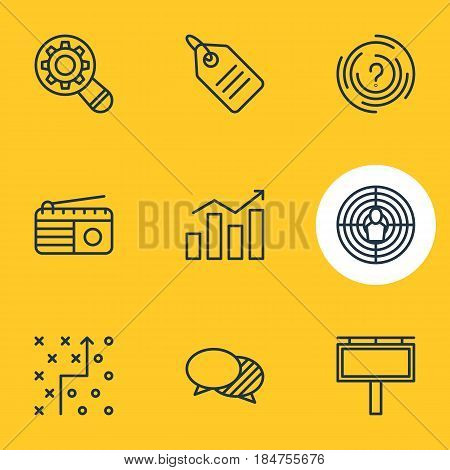 Vector Illustration Of 9 Ad Icons. Editable Pack Of Tactical Plan, Discussing, Advertising Billboard And Other Elements.
