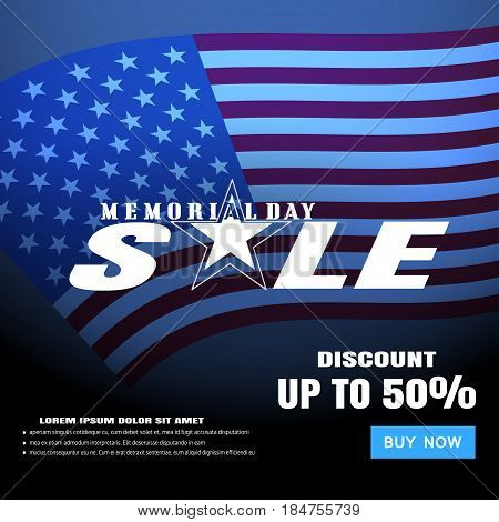 Memorial Day Sale vector poster with text blue button and terms on the dark blue gradient background with american flag.