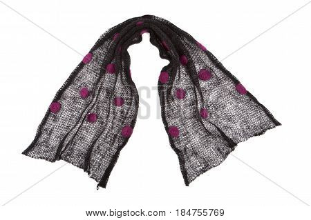 Scarf Mande From Knitted Black Dotted Mohair Fabric
