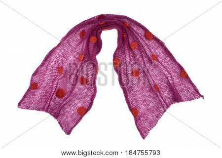 Scarf Mande From Knitted Purple Dotted Mohair Fabric