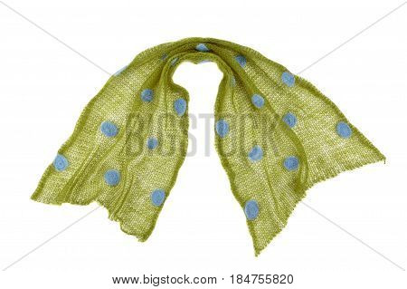 Scarf Mande From Knitted Green Dotted Mohair Fabric