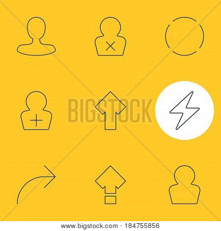 Vector Illustration Of 9 Interface Icons. Editable Pack Of Banned Member, Displacement, Register Account And Other Elements.
