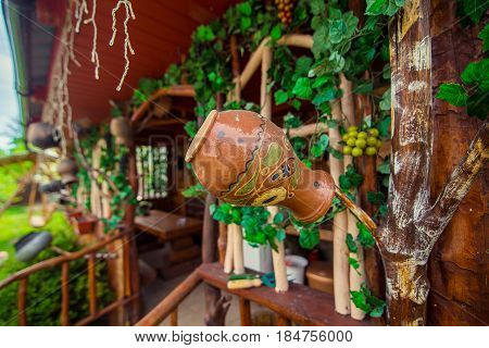 beautiful decoration of jugs in summer houses country house